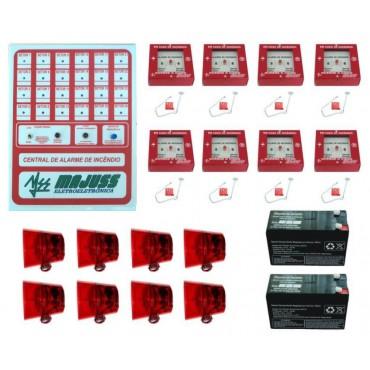 Kit Central de Alarme 24Vdc com Botoeiras Sirenes e Baterias