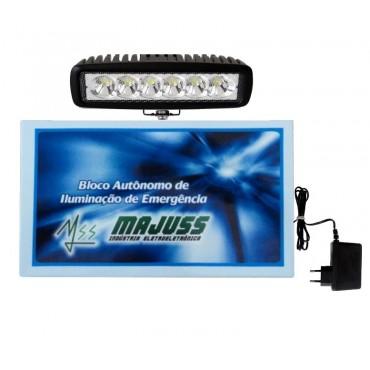 Bloco Autônomo de Emergência Led18Wcom Bateria 12V