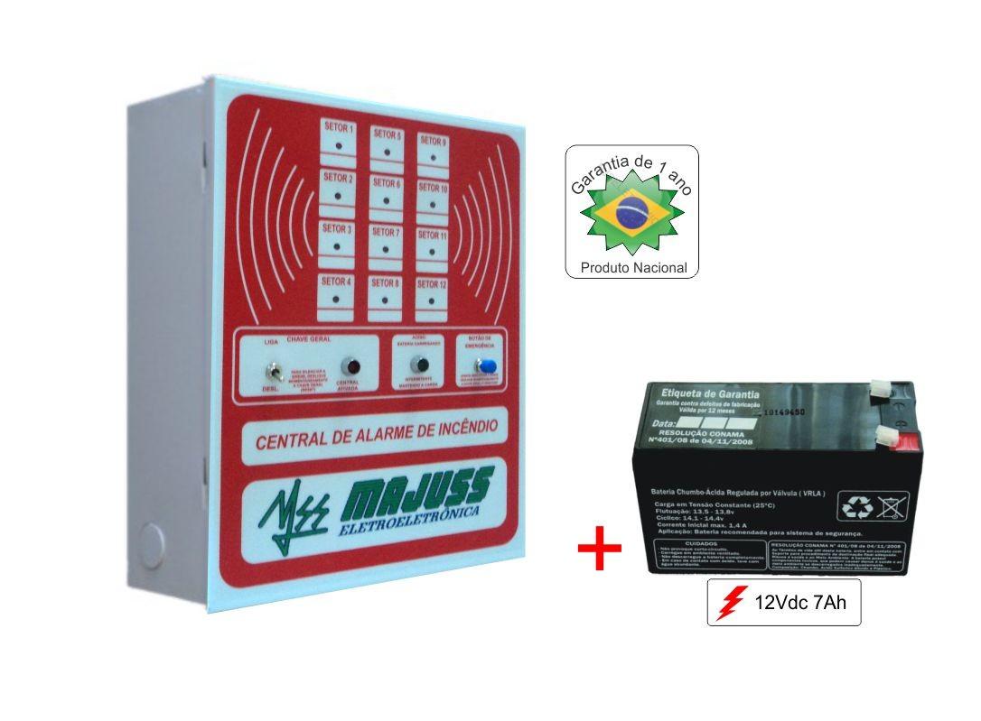 Kit Central 12 Setores 12Vdc com Bateria 12Vdc 7A