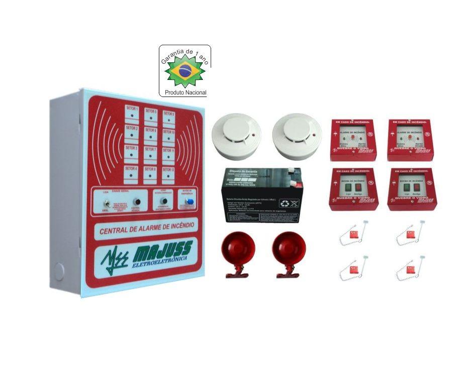 Kit Central de Alarme com Botoeiras Sirenes Detector de Fumaça e Bateria