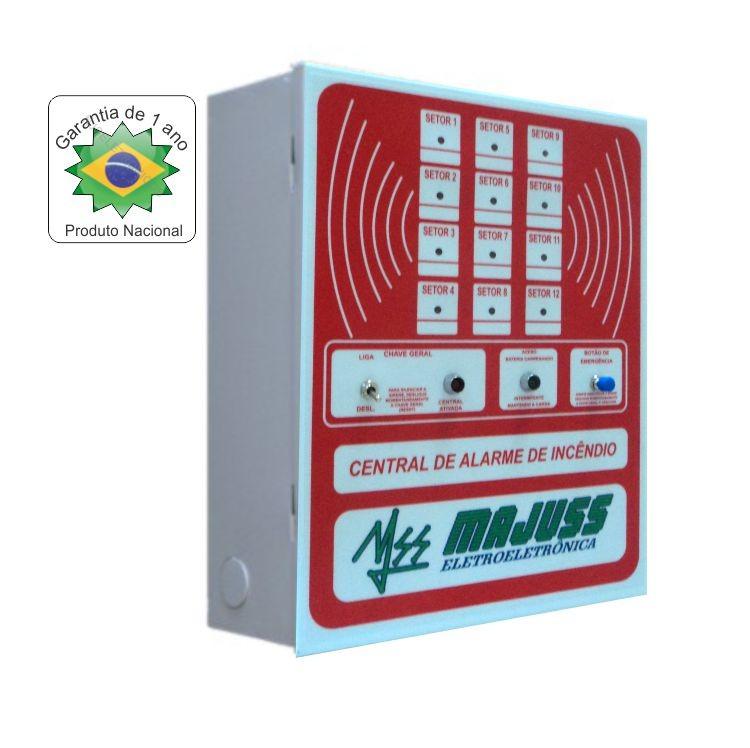 Central de Alarme de Incêndio de 12 Setores 24Vdc