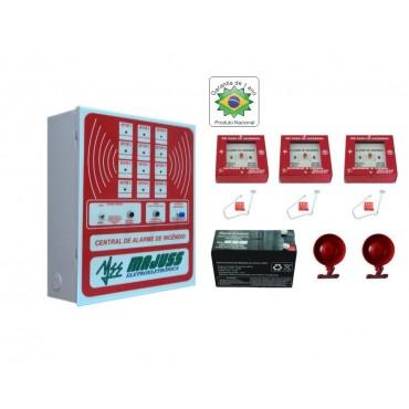 Kit Central de Alarme com Botoeiras Sirenes e Bateria 12Vdc