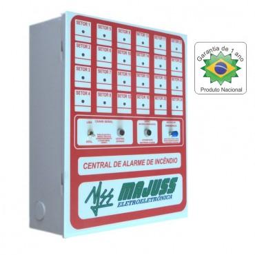 Kit Central 24 setores com Botoeiras Sirenes Detectores e Bateria 12Vdc