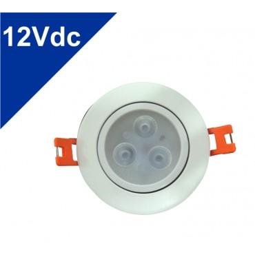 Spot Led de Embutir 3W 12V Redondo para Emergência