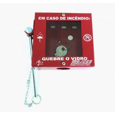 Caixa Metálica Porta Chave de Acesso com Martelinho e Suporte